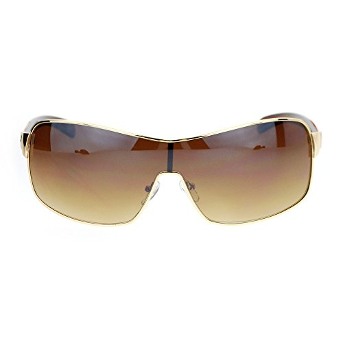 Mens Italian Designer Fashion Rimless Shield Sport Aviator Sunglasses Gold Brown (For Sunglasses Shield Men)