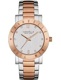 Caravelle New York 45L150 Two Tone Rose Gold Etched Bezel Watch ()
