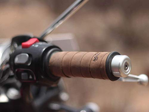 Trip Machine Company Leather Motorcycle Grips Wrap Tobacco Brown - Leather Motorcycle Grips