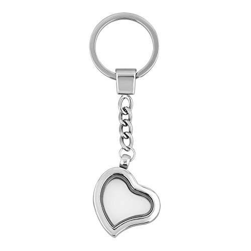 Mel Crouch keychain Heart&Round Clear Crystal 30mm Glass Living Memory Locket Key Ring for Floating Charms Magnetic (Style-2)