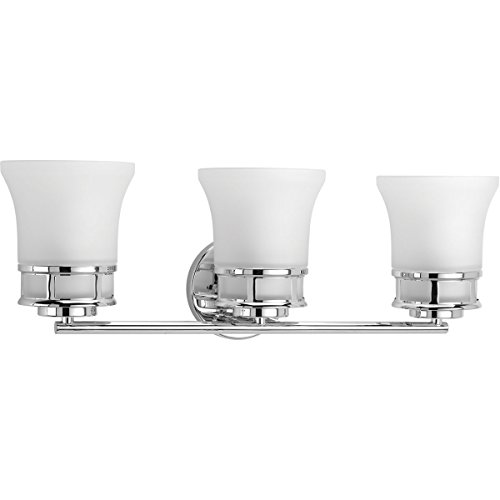 Progress Lighting P2148-15 Traditional/Casual 3-100W Med Bath Bracket, Polished Chrome