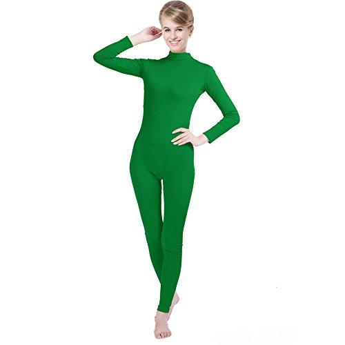 Green Spandex Bodysuit (Unisex Lycra Spandex Unitard Mock Neck Long Sleeves Footless Bodysuit Costume (XXL(6'-6'4/176-198LB), Emerald Green))