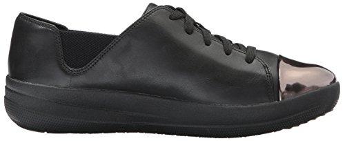 Fitflop Women's F-Sporty Mirror-Toe Sneaker, Black Black