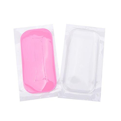 Coobbar 2pcs Reuseable Rectangle/Round Individual Eye Lashes Pads Pallet Eyelash Extension False Eyelash Holder (Clear and Pink)