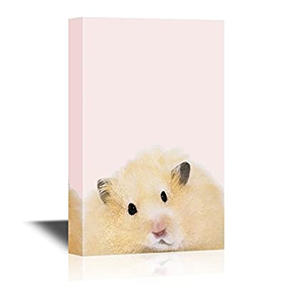Peekaboo Animals Canvas Wall Art - A Fluffy Hamster - Gallery Wrap Modern Home Art | Ready to Hang - 12x18 inches