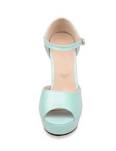 LFNLYX Zapatos de mujer-Tacón Robusto-Tacones / Punta Abierta-Sandalias-Casual-Semicuero-Azul / Rosa / Blanco White