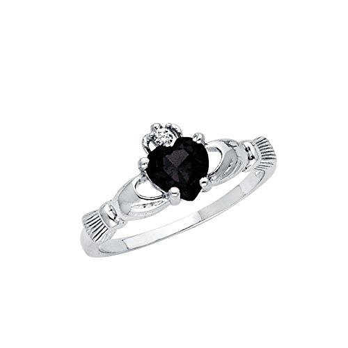 Wellingsale Ladies 925 Sterling Silver Polished Rhodium Onyx Heart CZ Irish Celtic Claddagh Ring, AAA Grade Highest Quality - Size 5