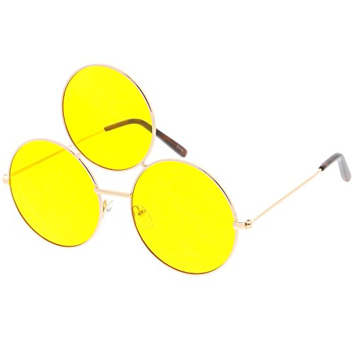 Sunglassla   Oversize Circle Third Eye Sunglasses For Men Women Slim Arms 56Mm  Gold Yellow
