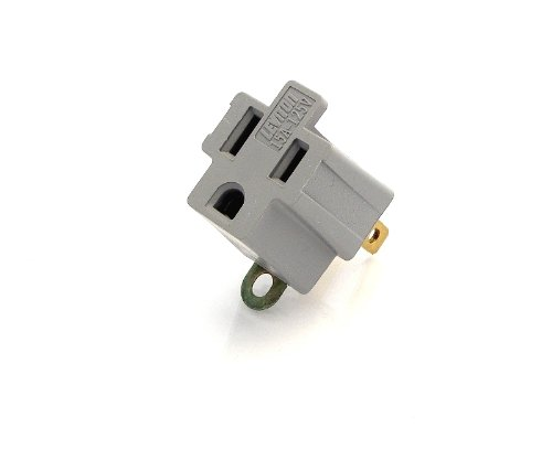 (Leviton 274 274-000 Grounding Adapter, Gray, 2 Pack)