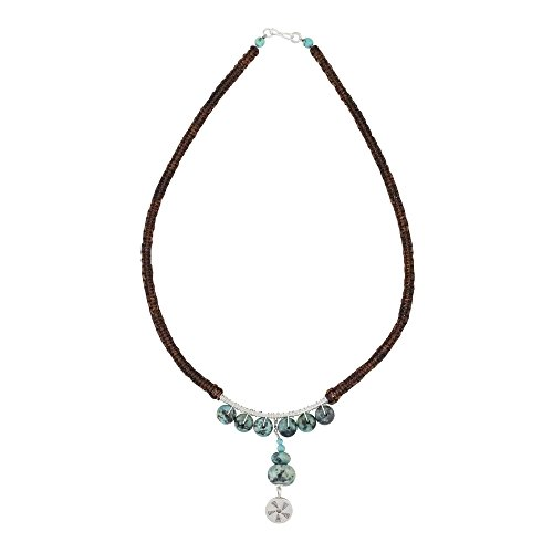 Hill Tribe Silver Artisan Necklace - NOVICA Multi-Gem Reconstituted Turquoise .925 Sterling Silver Beaded Necklace, Hill Tribe Wheel'