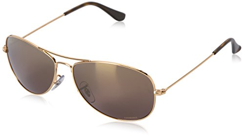 Ray-Ban Unisex RB3562 Chromance Lens Pilot Sunglasses, Gold Frame/Brown Mirror Lens - Ban Ray Polarized Chromance
