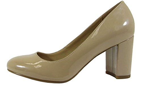 Round Pumps Heel Stacked Toe (City Classified Comfort Women's Round Closed Toe Chunky Block Mid Heel Pump (7 B(M) US, Dark Beige Patent))