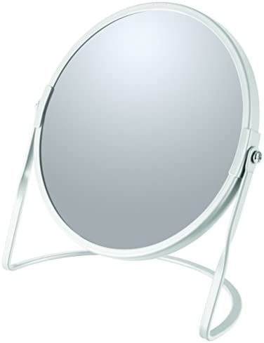 Spirella Collection Akira Standing Mirror for Vanity or Bathroom 18.4 x 10.5 x 18.4 (Reversible: 100% and x5 Magnification), Steel, White
