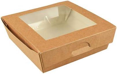 Papstar - 4 x 25 cajas de cartón con ventana transparente de plástico puro, rectangular, 1000 ml, 16 x 16 x 5 cm: Amazon.es: Hogar