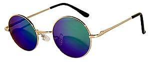 Round Retro Vintage Circle Style Sunglasses Colored Metal Frame OWL
