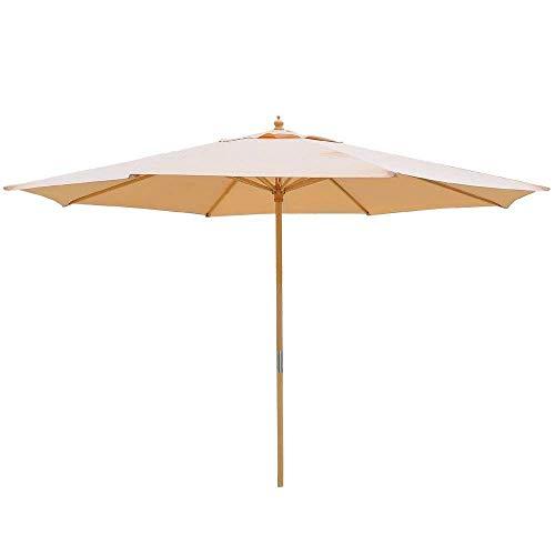 13ft Beige Patio Umbrella XL 8 Ribs w/German Beech Wood Pole UV Protection UV30+ Polyester Fabric Outdoor Water-Pepellent Canopy Beach Yard Wedding Garden