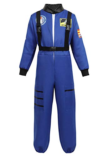 Halloween Astronaut Costume for Kids Role Play Child NASA Flight Jumpsuit Costumes Blue 2XL]()