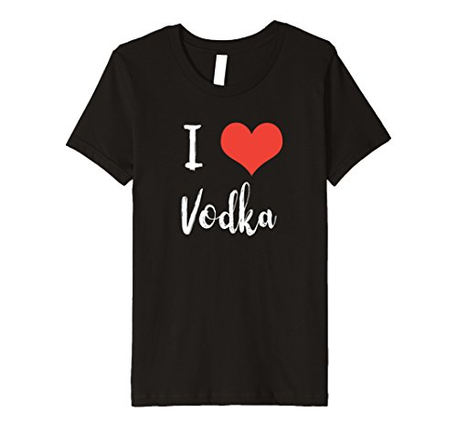 [unisex-child I Love Vodka Premium Fitted T-shirt 6 Black] (Premium Vodka)