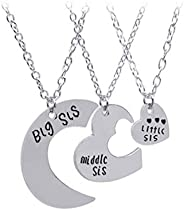 DearAnswer 3 Pcs Specially Design Three-Petal Stitching Love Necklace Big Middle Little Sister Family Style Mo