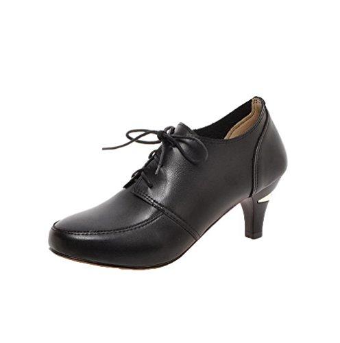 VogueZone009 Women's Kitten-Heels Lace-up Solid Pumps-Shoes Black fT0Mp8