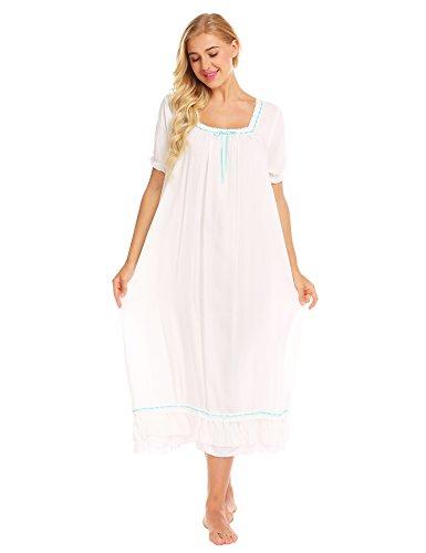 Ekouaer Womens Patricia Nightgown, Long Victorian Sleeveless Sleepwear,6805-white,XX-Large -