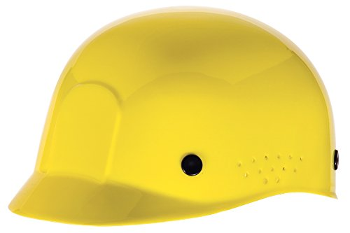 MSA 10033651 HDPE Bump Cap with Plastic Suspension and Sweatband, Yellow