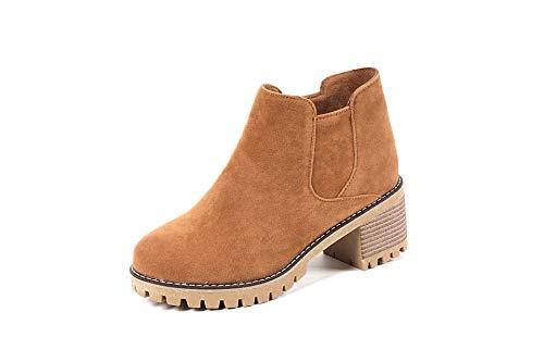E Alti Stivaletti Boots Tacco Largo Da Women's Brown Donna Basso Con SE8Ry