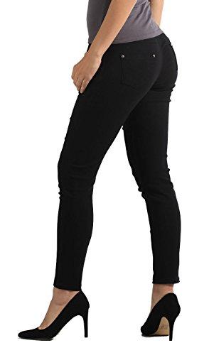 NYFC Premium Solid Perfectly Slimming Denim Leggings Jean Jeggings in Several Colors and Sizes (Medium/Large, Black)