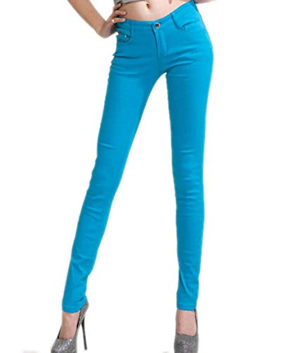 Pantalones Elástica Size Sólido Las Juniors Mezclilla Botones Casuales Leggings M Color Jeans Pierna color Blau Treggings Pitillo De Pantalón Mujeres 0qwxgr0S