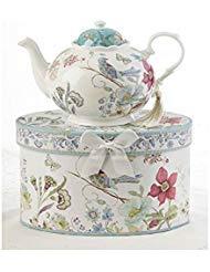 Delton Products Partridge 9.5 inches x 5.6 inches Porcelain Tea Pot in Gift Box - Delton Teapot
