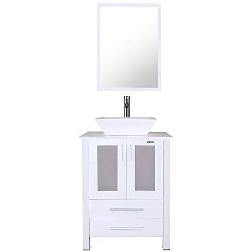 White Bathroom Vanity Cabinet And Sink Units Modern Stand Pedestal with Square White Ceramic Vessel Sink, Chrome Bathroom Solid Brass Faucet and Pop Up Drain Combo, With Mirror (A07B02W)