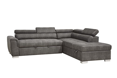 ACME Furniture 50275 Thelma Sleeper and Ottoman Sectional Sofa, Gray (Furniture Sofa Sectional Acme)