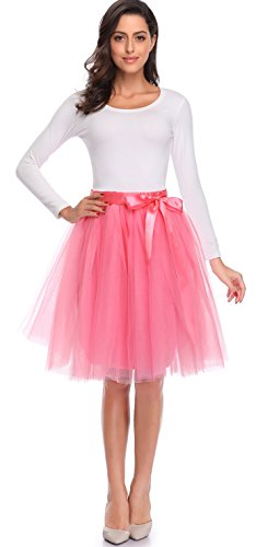 V 28 Women's A Line Short Knee Length 6 Layer Tutu Tulle Prom Party Skirt (Sunny Pink, Medium) by V 28