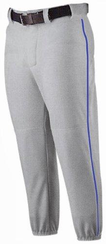 (Alleson Athletic Youth Baseball Pants- Grey/Royal Piping; Small)