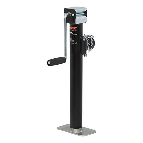 CURT 28358 Weld-On Pipe-Mount Swivel Trailer Jack 5,000 lbs, 15-1/2 Inches Vertical Travel - Mount Trailer Jack