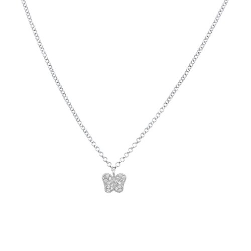 (UNICORNJ Childrens Sterling Silver 925 Cubic Zirconia Pave Small Butterfly Pendant Necklace 15
