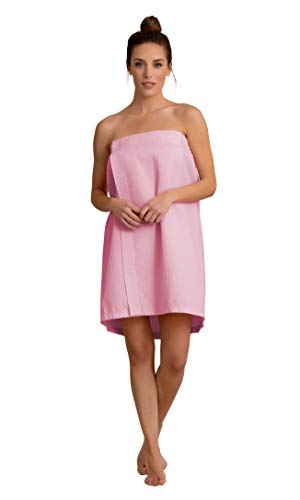 Premium Turkish Cotton Women's Lightweight Knee Length Spa/Bath Waffle Body Wrap with Adjustable Hook-and-Loop Tape -