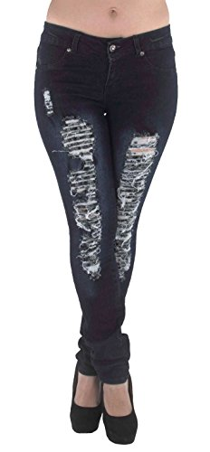 - Style M486P - Plus Size Mid Waist Colombian Design Butt lift Ripped Skinny Jeans in Washed Dark Blue Size 24