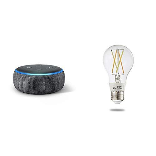 Echo Dot (3rd Generation) – Charcoal with 1 Bulbrite Solana SMART LED Filament WiFi Vintage Smart Bulb