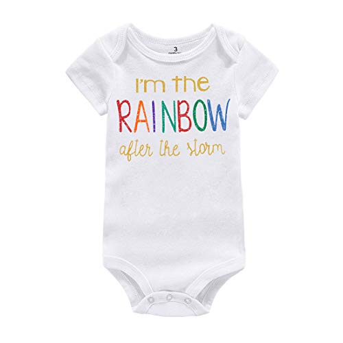 Rainbow Shorts T-shirt (WINZIK Newborn Infant Baby Boys Girls Outfits I'm The Rainbow Letters Print Romper Jumpsuit Clothes T-Shirt (12 Months, White-Short Sleeve))