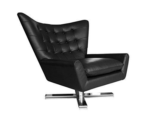Lounge sessel schwarz  Drehbarer V-förmiger Echtleder Ohrensessel Fernsehsessel ...