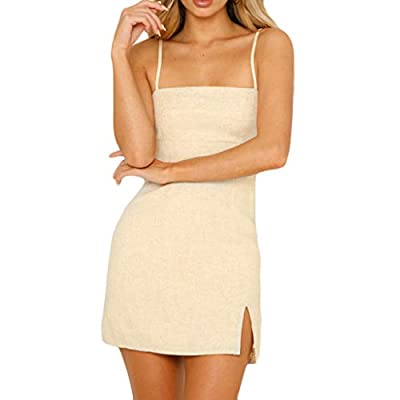 PASATO Women Camisole Sleeveless Pure Color Fork Opening Buttock Club Party Slim Mini Sling Dress