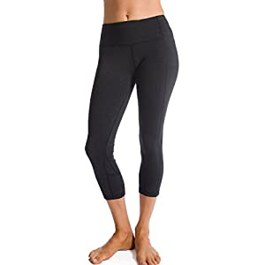 Homma Women's Premium Quality Active Workout Cropped Yoga Leggings Running Pants (Large, Charcoal)