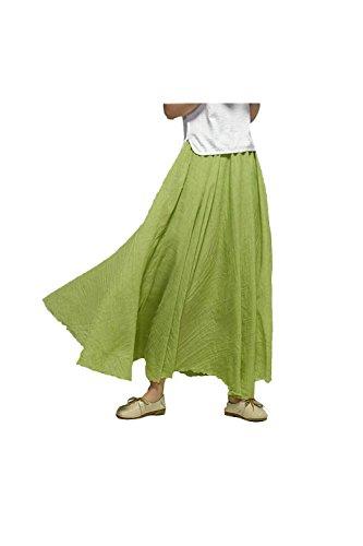 Fasumava Les Femmes en Jupe Patineuse Plage Automne Maxi - Jupes en Coton Occasionnels Solide Green