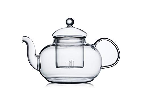 CnGlass 600ML(20.3 oz) Classic Clear Glass Teapot with Removable Strainer Set of 1 Highly-Borosilicate Heatproof Glass Cup,Stovetop Safe Savor Teapot