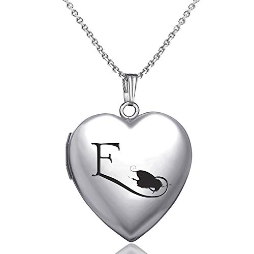 MUERDOU Locket Necklace That Holds Pictures Initial Alphabet Letter Heart Shaped Photo Memory Locket Pendant Necklace (E)