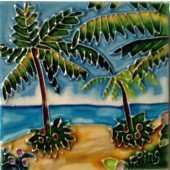 Ceramic Tree Palm Tile - Palm Trees Decorative Ceramic Wall Art Tile 4x4