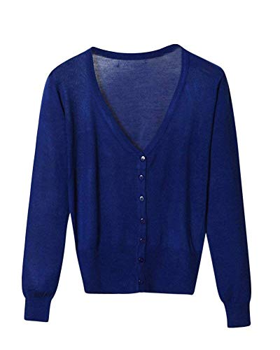 Maniche Maglia Base Targogo Fashion V neck Comodo Cappotto Giacche Lunghe Scuro Ragazza Monocromo Autunno Giacca A Donna Primaverile Knit Casual Eleganti Button Blu RFRE8nfqr