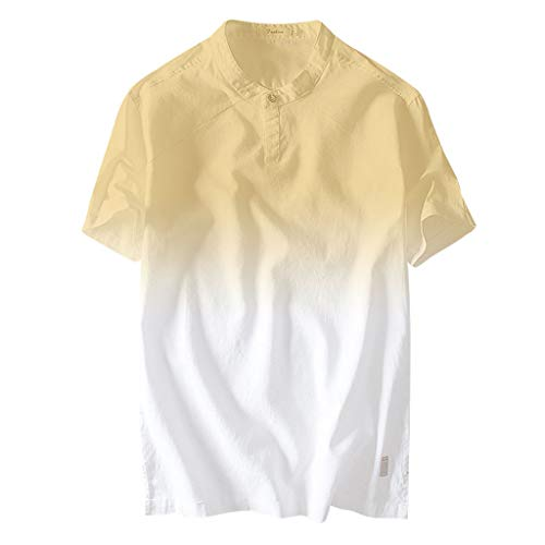 OrchidAmor 2019 Summer Men's Cool and Thin Breathable Collar Hanging Dyed Gradient Cotton Shirt Yellow