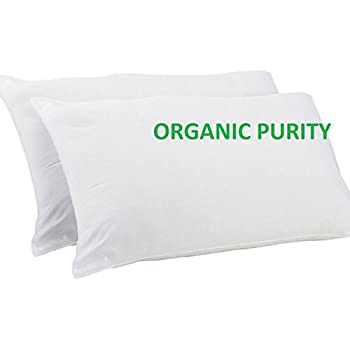 Premium Down Alternative Pillows with Organic purity covering and ability to fully adjust for comfort softness / firmness - by OrganicTextiles - 2 Pack value – Standard size 20 x 26 inches